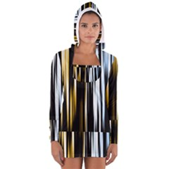 Digitally Created Striped Abstract Background Texture Women s Long Sleeve Hooded T Shirt