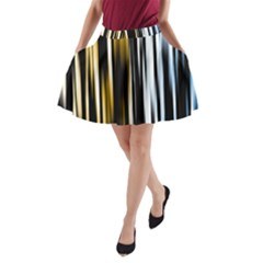 Digitally Created Striped Abstract Background Texture A-Line Pocket Skirt
