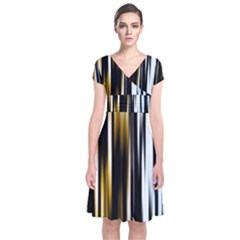 Digitally Created Striped Abstract Background Texture Short Sleeve Front Wrap Dress