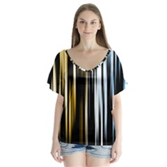 Digitally Created Striped Abstract Background Texture Flutter Sleeve Top