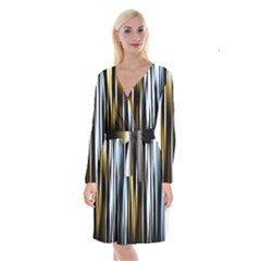 Digitally Created Striped Abstract Background Texture Long Sleeve Velvet Front Wrap Dress