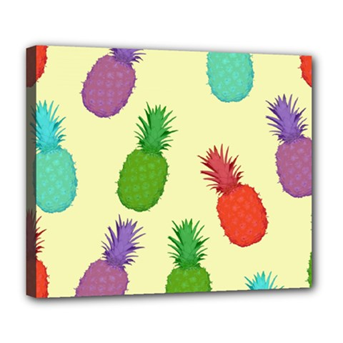 Colorful Pineapples Wallpaper Background Deluxe Canvas 24  X 20
