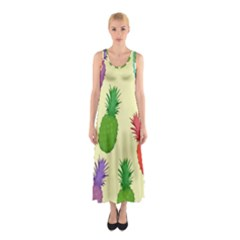 Colorful Pineapples Wallpaper Background Sleeveless Maxi Dress