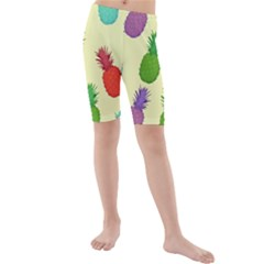 Colorful Pineapples Wallpaper Background Kids  Mid Length Swim Shorts