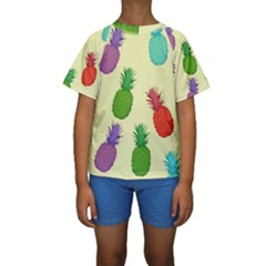 Colorful Pineapples Wallpaper Background Kids  Short Sleeve Swimwear