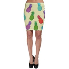 Colorful Pineapples Wallpaper Background Bodycon Skirt