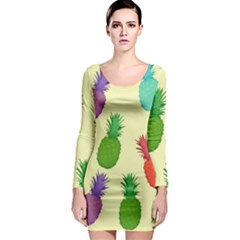 Colorful Pineapples Wallpaper Background Long Sleeve Bodycon Dress