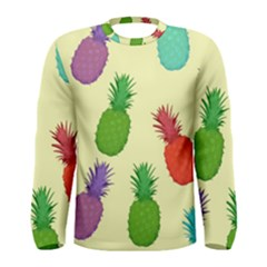 Colorful Pineapples Wallpaper Background Men s Long Sleeve Tee