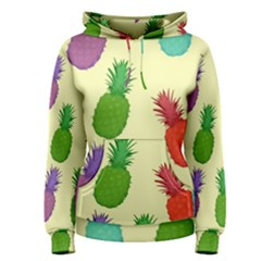 Colorful Pineapples Wallpaper Background Women s Pullover Hoodie