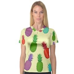 Colorful Pineapples Wallpaper Background Women s V Neck Sport Mesh Tee