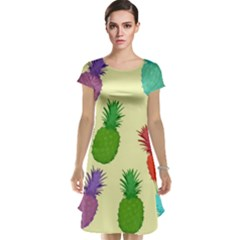 Colorful Pineapples Wallpaper Background Cap Sleeve Nightdress