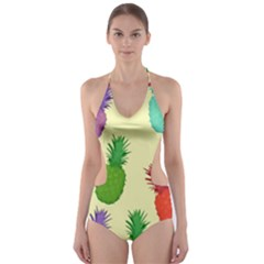 Colorful Pineapples Wallpaper Background Cut Out One Piece Swimsuit