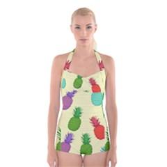 Colorful Pineapples Wallpaper Background Boyleg Halter Swimsuit