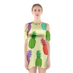 Colorful Pineapples Wallpaper Background Shoulder Cutout One Piece