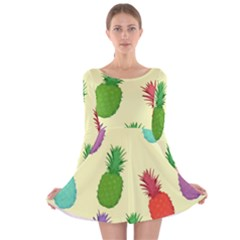 Colorful Pineapples Wallpaper Background Long Sleeve Velvet Skater Dress