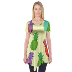Colorful Pineapples Wallpaper Background Short Sleeve Tunic