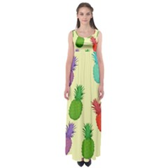 Colorful Pineapples Wallpaper Background Empire Waist Maxi Dress