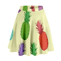 Colorful Pineapples Wallpaper Background High Waist Skirt