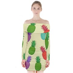 Colorful Pineapples Wallpaper Background Long Sleeve Off Shoulder Dress