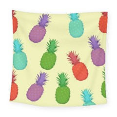 Colorful Pineapples Wallpaper Background Square Tapestry (large)