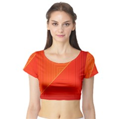 Abstract Clutter Baffled Field Short Sleeve Crop Top (Tight Fit)
