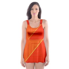 Abstract Clutter Baffled Field Skater Dress Swimsuit