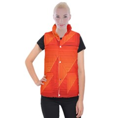 Abstract Clutter Baffled Field Women s Button Up Puffer Vest