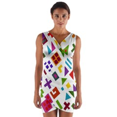 A Colorful Modern Illustration For Lovers Wrap Front Bodycon Dress