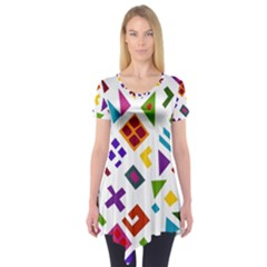 A Colorful Modern Illustration For Lovers Short Sleeve Tunic
