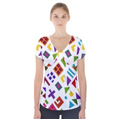 A Colorful Modern Illustration For Lovers Short Sleeve Front Detail Top
