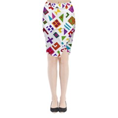 A Colorful Modern Illustration For Lovers Midi Wrap Pencil Skirt