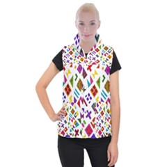 A Colorful Modern Illustration For Lovers Women s Button Up Puffer Vest