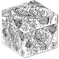 Black Abstract Floral Background Storage Stool 12