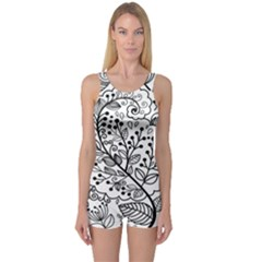 Black Abstract Floral Background One Piece Boyleg Swimsuit