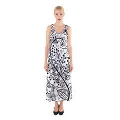 Black Abstract Floral Background Sleeveless Maxi Dress