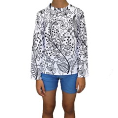 Black Abstract Floral Background Kids  Long Sleeve Swimwear
