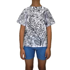 Black Abstract Floral Background Kids  Short Sleeve Swimwear