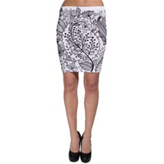 Black Abstract Floral Background Bodycon Skirt