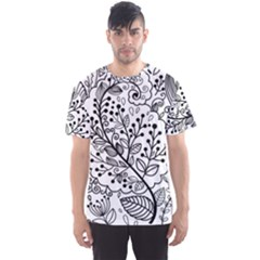 Black Abstract Floral Background Men s Sport Mesh Tee