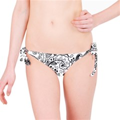Black Abstract Floral Background Bikini Bottom