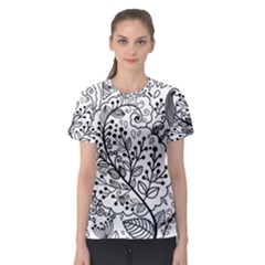 Black Abstract Floral Background Women s Sport Mesh Tee