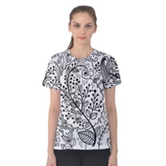 Black Abstract Floral Background Women s Cotton Tee