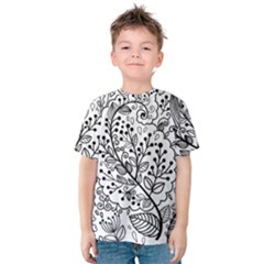 Black Abstract Floral Background Kids  Cotton Tee