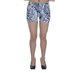 Black Abstract Floral Background Skinny Shorts