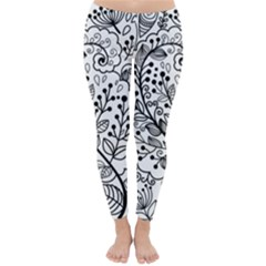Black Abstract Floral Background Classic Winter Leggings