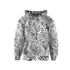 Black Abstract Floral Background Kids  Zipper Hoodie