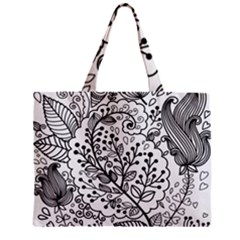 Black Abstract Floral Background Zipper Mini Tote Bag