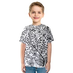Black Abstract Floral Background Kids  Sport Mesh Tee