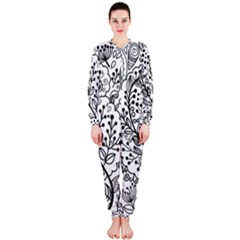 Black Abstract Floral Background OnePiece Jumpsuit (Ladies)