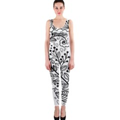 Black Abstract Floral Background OnePiece Catsuit